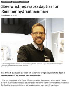 Rammer Steelwrist hammare adapter