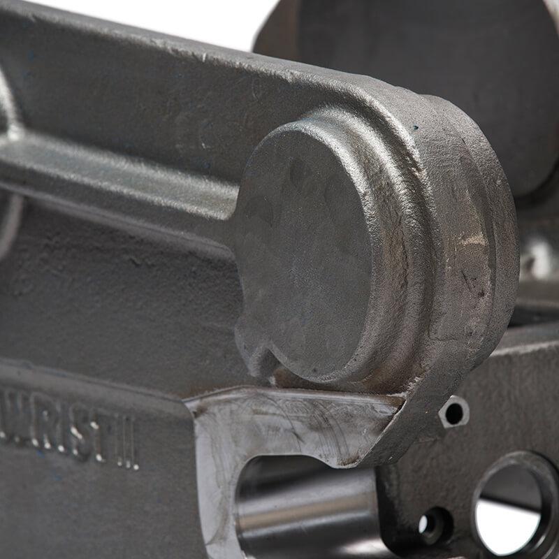Closeup picture casted quickcoupler for excavators