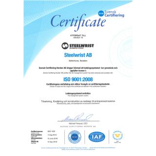 Steelwrist-ISO9001;2008-certifikat