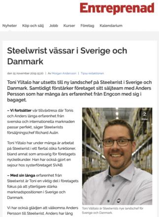 Steelwrist Sverige Danmark